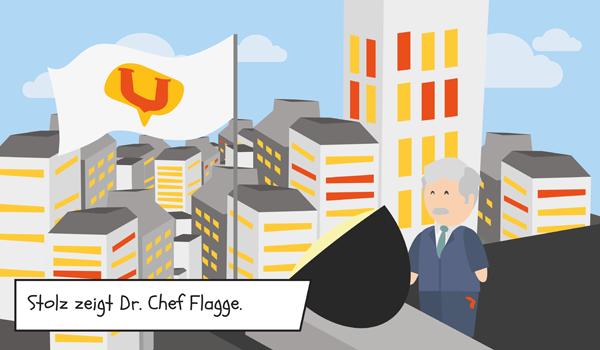 11. Stolz zeigt Dr. Chef Flagge für Usability mit U-Mans Symbol.