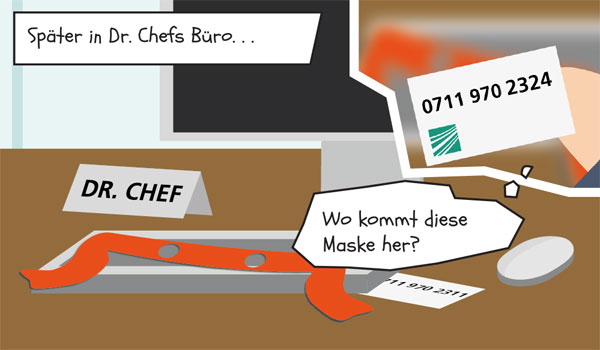 Später findet Dr. Chef eine orangene Maske und eine Visitenkarte in seinem Büro.
