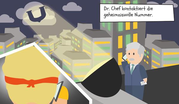 Dr. Chef kontaktiert die geheimnisvolle Nummer auf der Visitenkarte.
