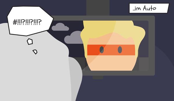 Plötzlich entdeckt er im Rückspiegel einen Mitfahrer mit orangener Maske.