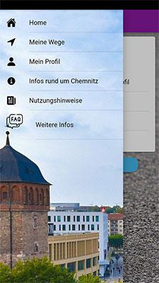 Abbildung 1: Smartphone-Applikation mit dem Auswahl-Menü. (Quelle: eigene Darstellung)
