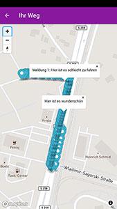Abbildung 2: Zurückgelegter Weg mit Hinweisen zur genutzten Infrastruktur. (Quelle: eigene Darstellung)