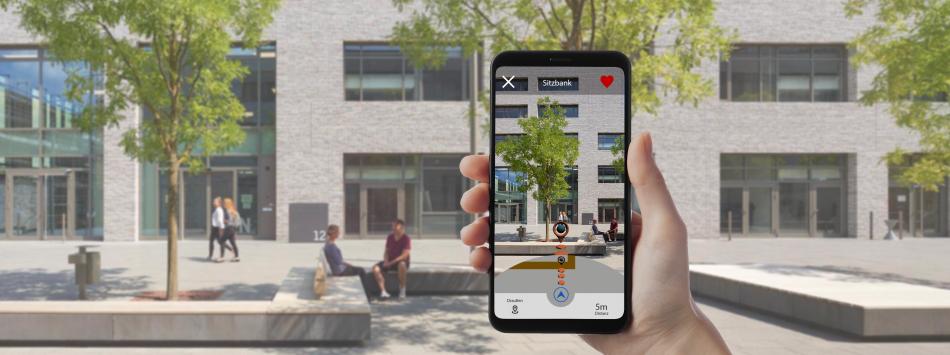 Mittels AR-Technologie wird das Kamerabild in Echtzeit um Route, Ziel und weitere Informationen ergänzt.