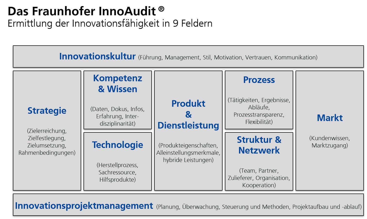 Die neun Gestaltungsfelder für Innovationsexzellenz. (Quelle: Fraunhofer IAO)