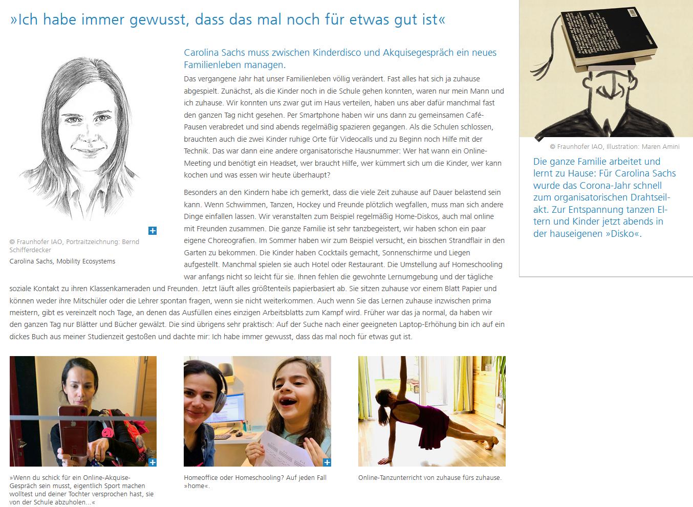 Abbildung 1: Homestory von Carolina Sachs im Jahresbericht. (Quelle: Fraunhofer IAO)