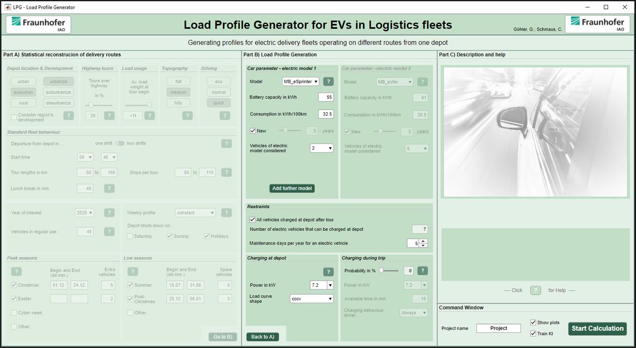 Abbildung 2: Benutzeroberfläche des Lastprofilgenerators für Zustellflotten in der Paketlogistik