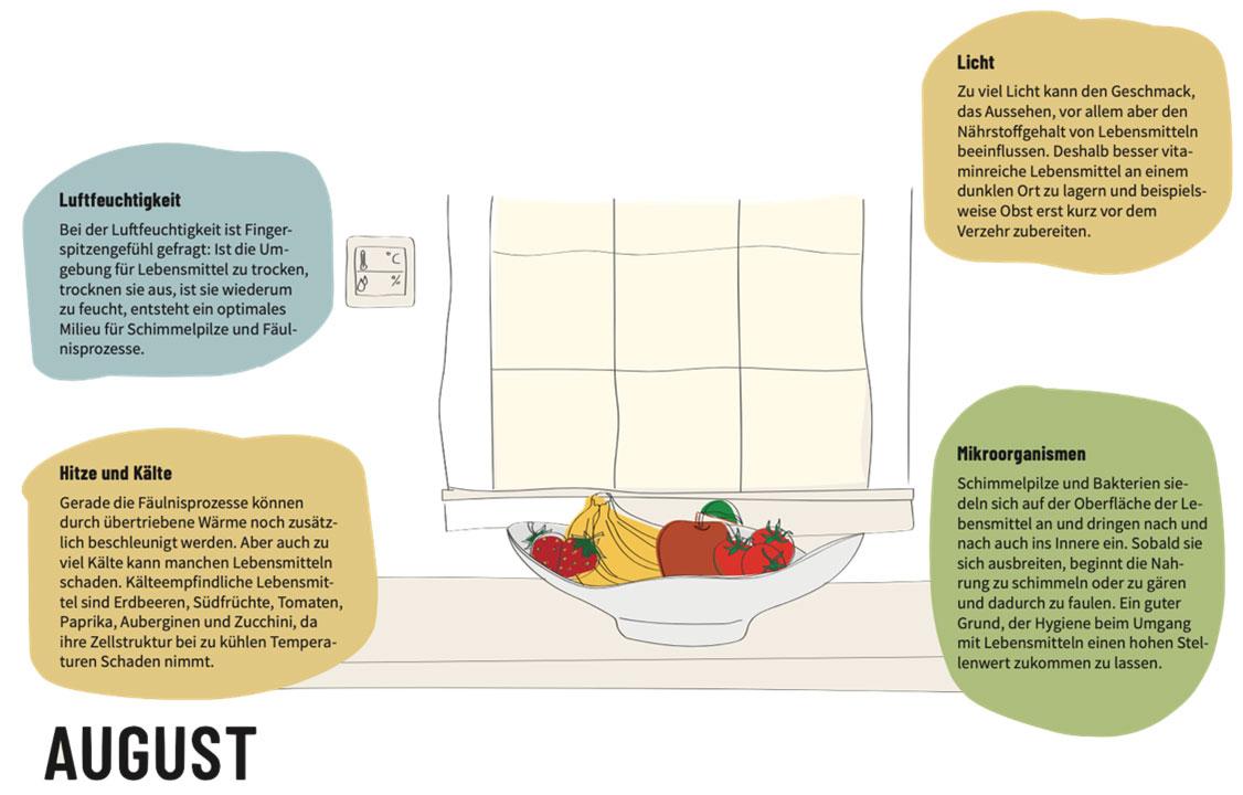 Abbildung 2: Kalenderseite August: Informationen zur Lagerung von Lebensmitteln.