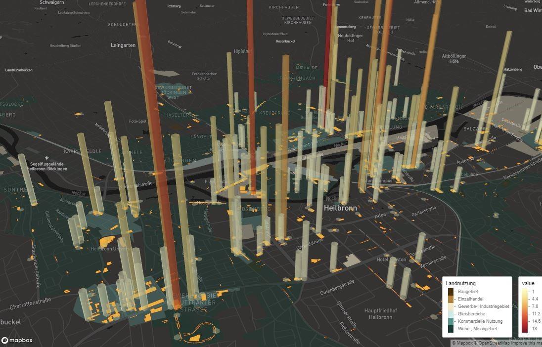 Abbildung 1: Prototyp eines Services zur Visualisierung und Analyse von Mobilitätsdaten am Beispiel der Anzahl an Parkvorgängen auf einzelnen Parkflächen. (Quelle: Fraunhofer IAO)