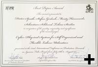 Die Preisurkunde des »Best Paper Award«