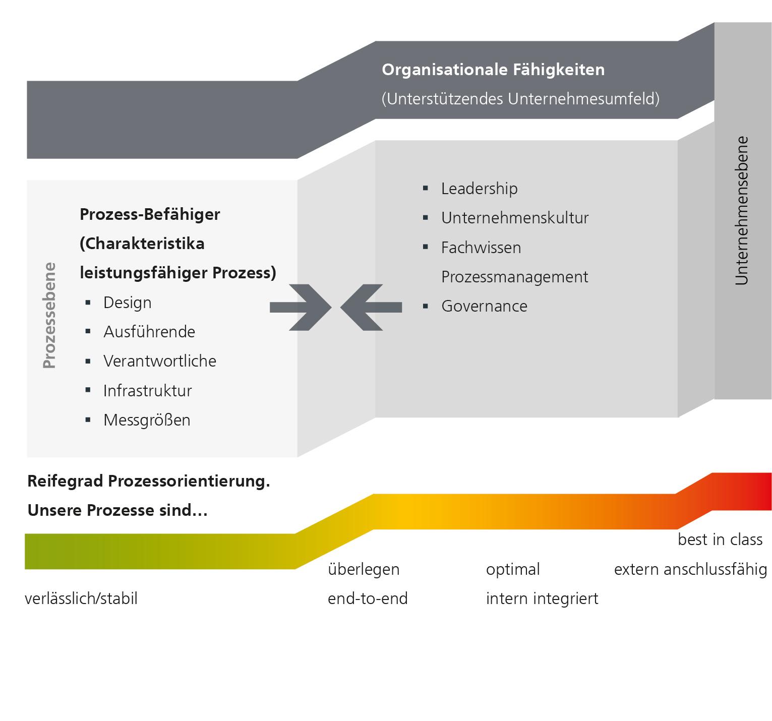 Abbildung 2: Wie weit sind Sie in der Prozessorientierung? Ein Tool zur Selbsteinschätzung. (Eigene Darstellung; Quelle Michael Hammer 2007)